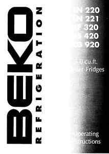 Beko Encastrable Réfrigérateurs Ln220, Ln221, Lf320, Ls420 & Lg920 Instructions D'utilisation-afficher Le Titre D'origine Iqnvjqzs-10124052-909170582