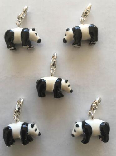 Charm breloque panda émaillé noir blanc mousqueton argenté  22mm x 18mm BIJOUX