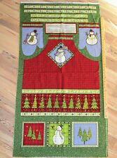 "Top Hat Snowman Debbie Mumm Christmas Fabric APRON Panel 29"""