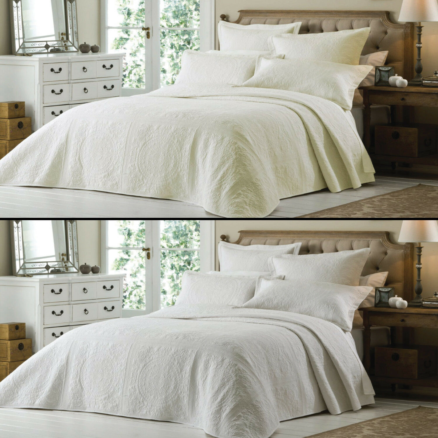 LUXURY EMBROIDErot IVORY CREAM Weiß QUILTED BEDSPREAD BED QUILT THROW COVER NEW