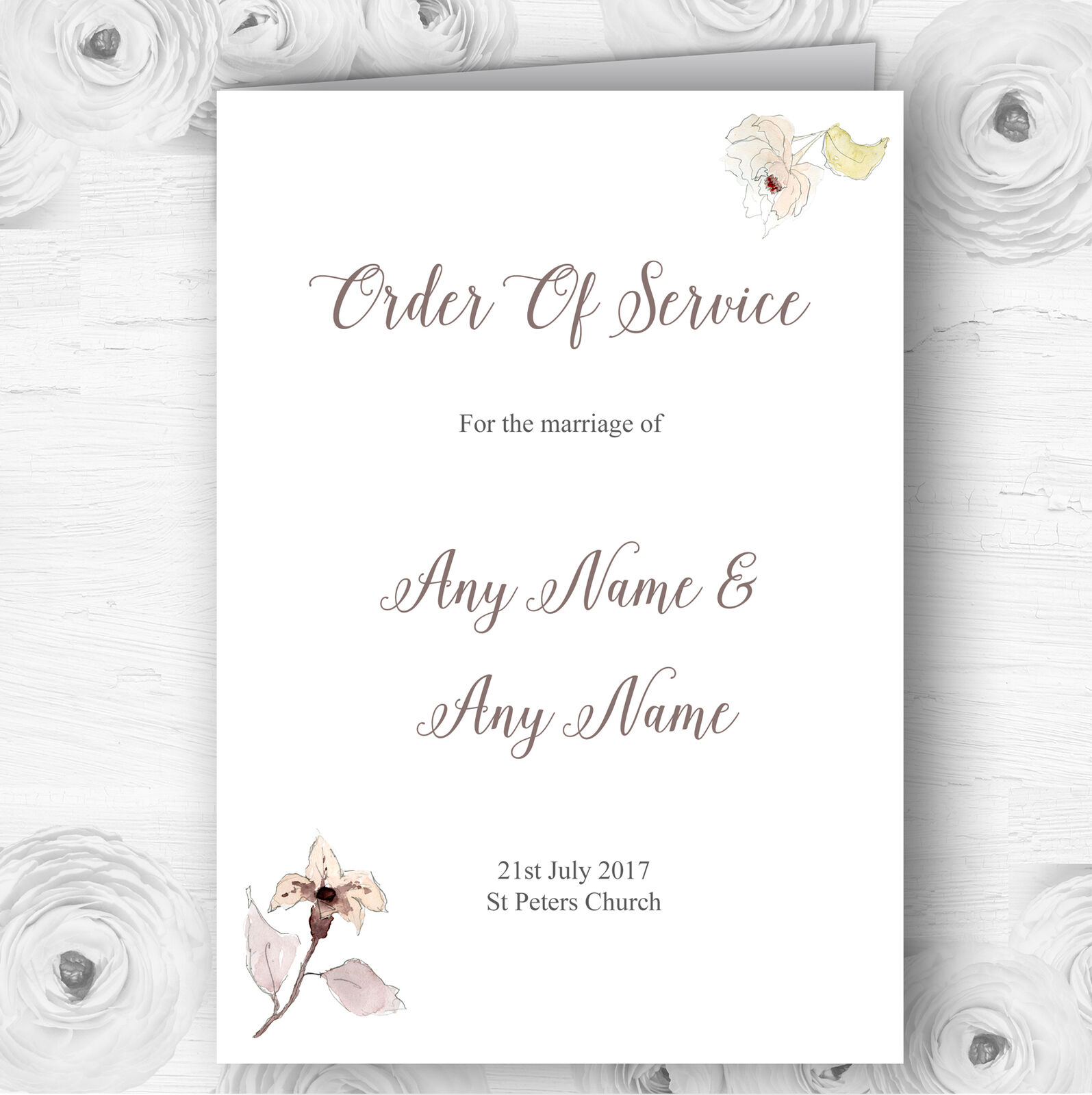 Beautiful Peach Watercolour Flowers Wedding Double Sided Cover Order Of Service