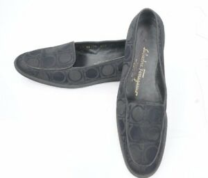 Salvatore-Ferragamo-Womens-7-5-B-Black-Fabric-Shoes-Loafers-Mocassins-Slip-On