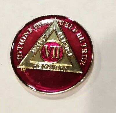 Rich Mandarin Red Enamel Twelth Year XII BSP 12 Year AA Sobriety Coin Medallion
