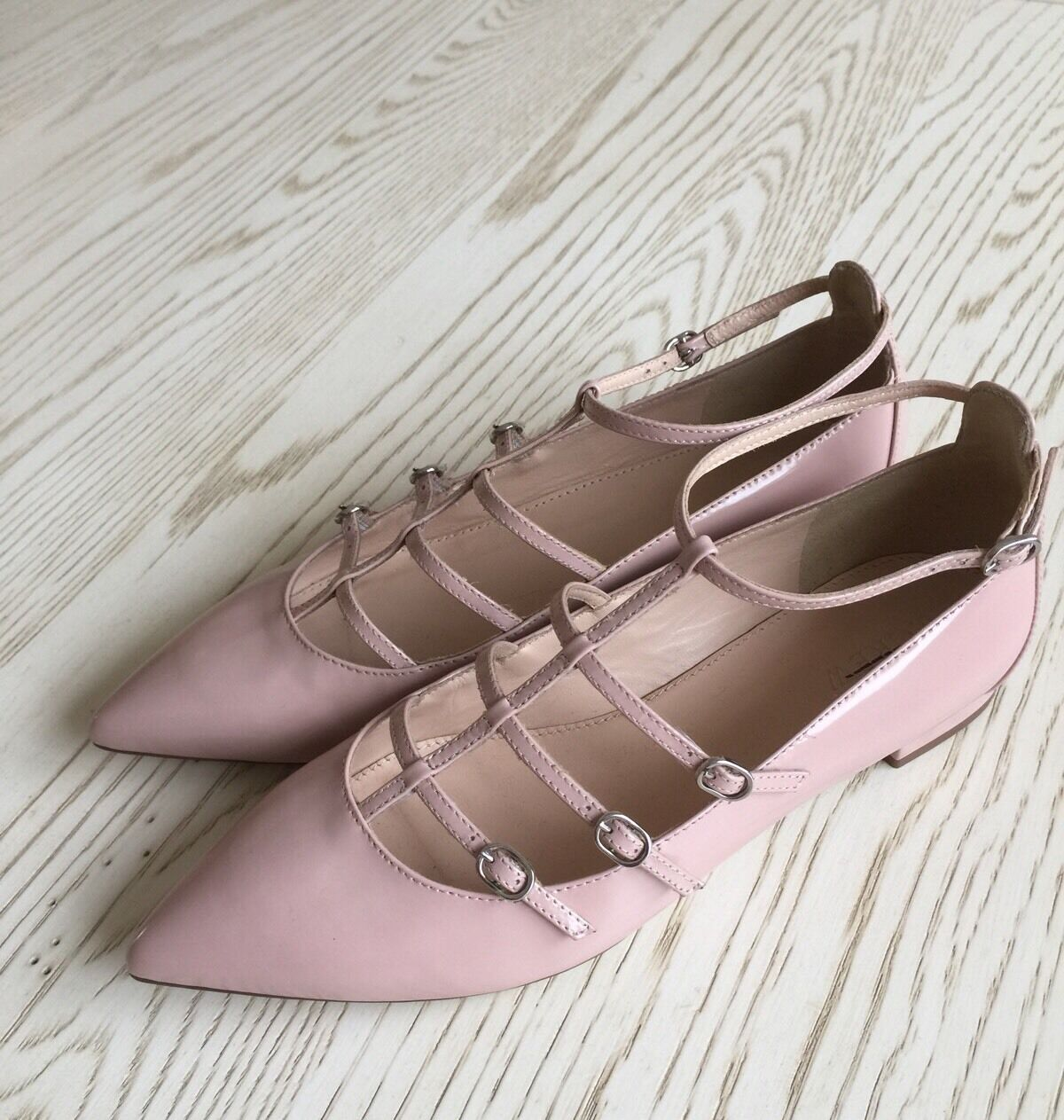 J CREW GLOSSY $168 CAGED FLATS IN GLOSSY CREW LEATHER 7.5 pale bloom Shoes f5530 9f165f