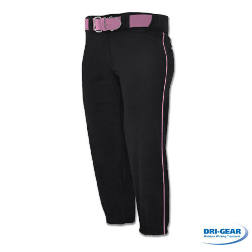 NEW CHAMPRO Girls Womens Low Rise Black//Pink Piped Fastpitch Softball Pants