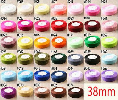 """50 Yards 1 1/2"""" 38mm Sheer Organza Ribbon Craft Satin many color"""