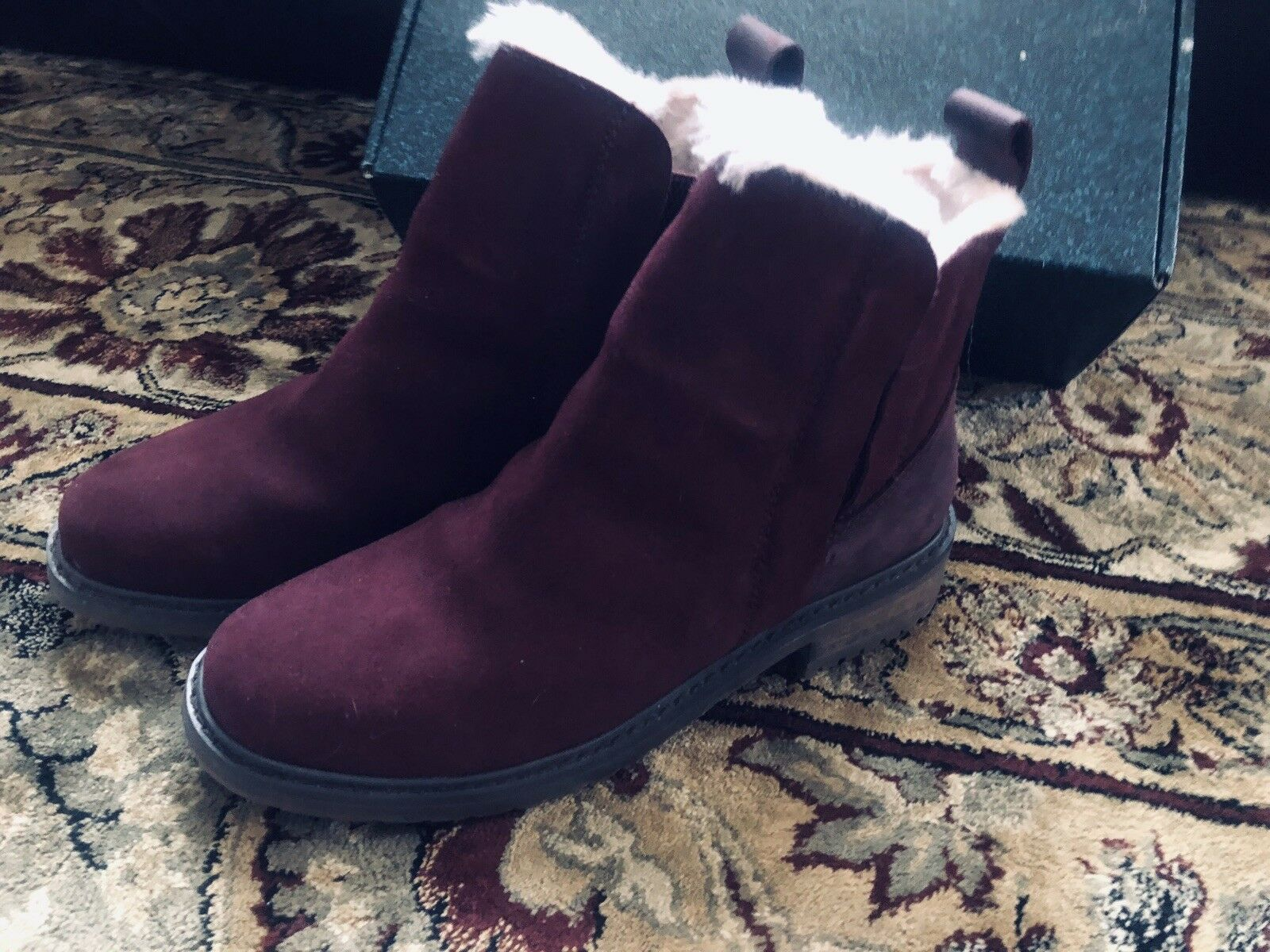 Womens Suede Ankle Boots Emu Of Australia Pioneer Shearling Shearling Shearling Size 7 53e3b2
