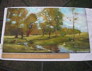 HARRY-LEITH-ROSS-New-Hope-Impressionist-OIL-ON-BOARD-George-Inness-Copy-Unframed