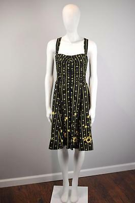MOULINETTE SOEURS Sz 6 $168 Anthropologie Ruched Martins Dress Black Yellow [2G]