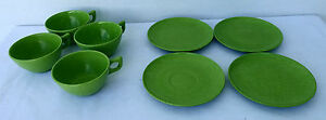 VINTAGE-LOT-Melmac-COLORFLYTE-by-Branchell-Plates-Cups-Lime-Green