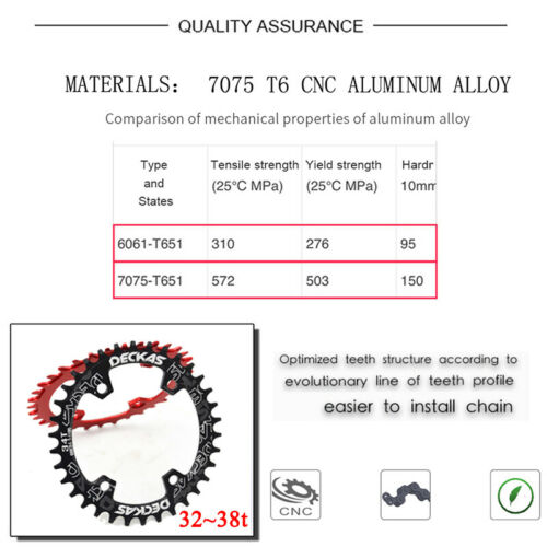 DECKAS bcd96s 32//34//36//38t MTB Bike Chainring Narrow Wide Bicycle CNC Chainwheel