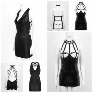 Womens-Wet-Look-Leather-Bodycon-Mini-Dress-Cocktail-Party-Clubwear-Short-Skirts