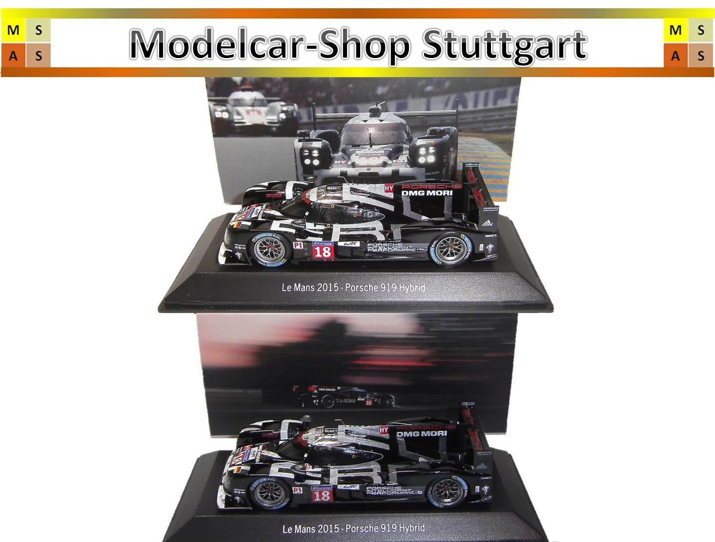 Porsche Hybrid 919 Le Mans 2015 Racing and Finish Dark Version Spark 1 43