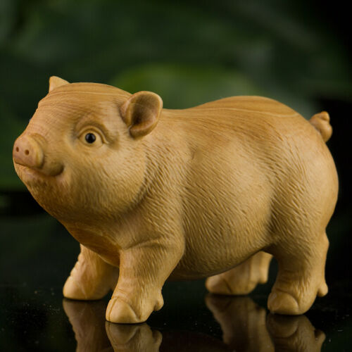 Chinese Exquisite Box-wood Hand-carved Zodiac Animal Lovable Pig Tea Pet Statue