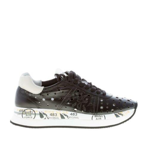 PREMIATA damen schuhe schwarz perforiertes leder Conny 2965 sneaker mit hellgrau
