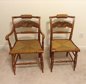 Ethan Allen Hitchcock Chairs American Eagle W Woven Rush Seats