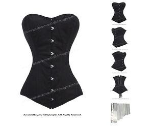 65ab48fab20 26 Double Steel Boned Waist Training Twill Cotton Long Line Corset ...