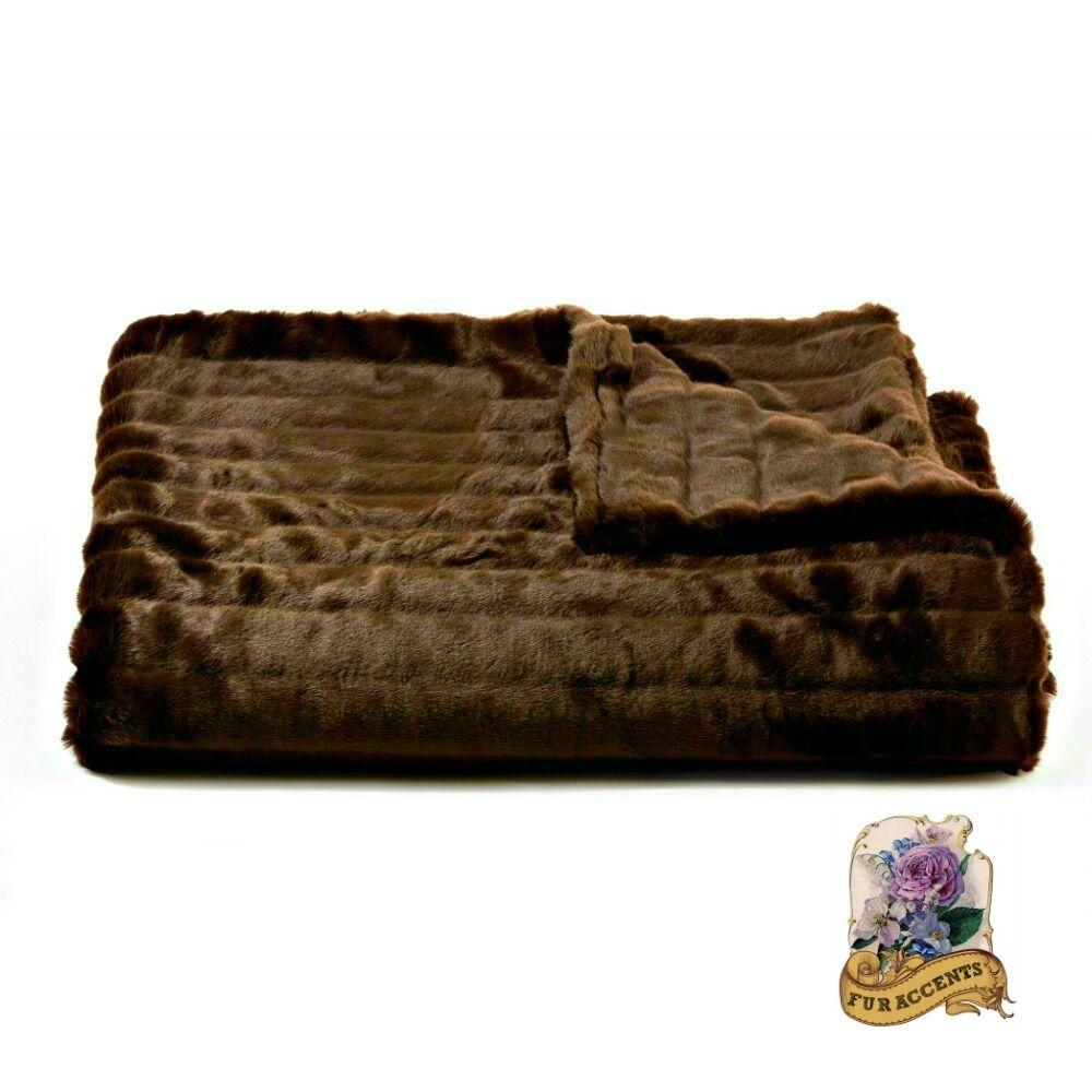 Chocolate Brown Ribbed Mink Faux Fur Throw Blanket Luxury Soft Minky Fur Lining