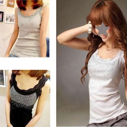 Women Sleeveless Lace Rhinestone Stunning Vest Tank Top T-shirt Blouse Yoga