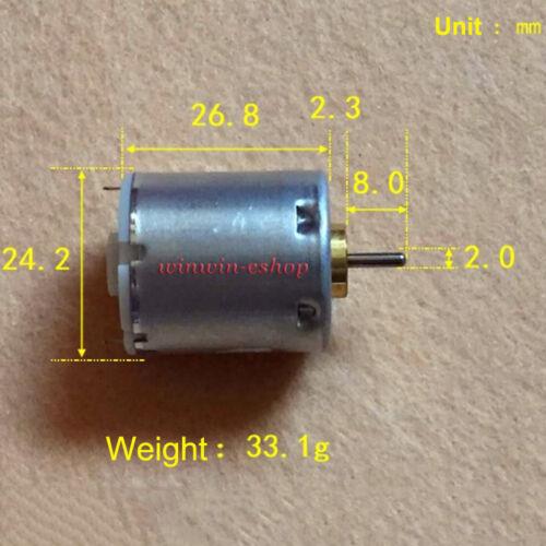 DC 1.5V 3V 3.7V 12000RPM High Speed Mabuchi 24mm Small Round 270 Motor DIY Toy