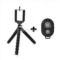 Mini Flexible Tripod Stand + Phone Holder + Remote Control for iPhone Good UK