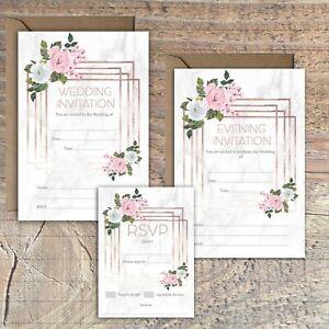 WEDDING-INVITATIONS-BLANK-ROSE-GOLD-amp-MARBLE-PRINT-PINK-ROSE-PACKS-OF-10