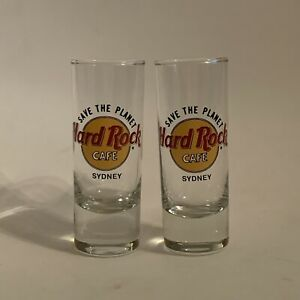 2-x-Hard-Rock-Cafe-Save-The-Planet-SYDNEY-4-034-SHOT-GLASS-Collectable