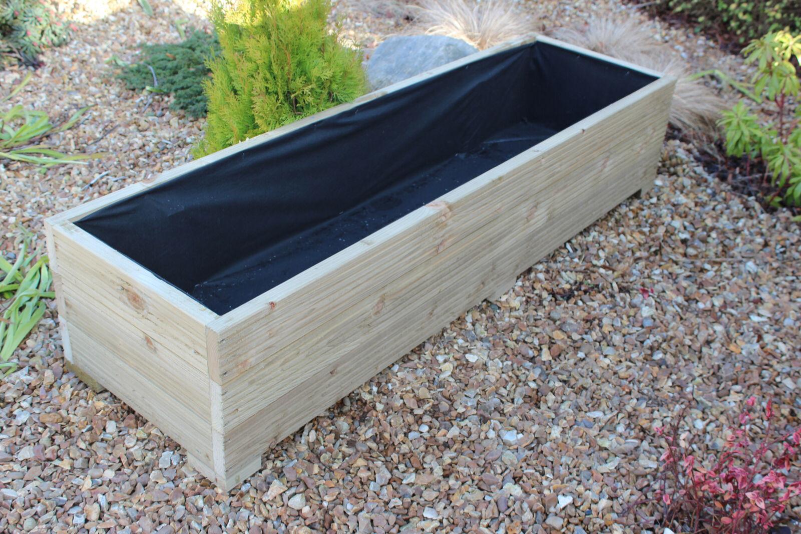 150x44x33 cm large wide treated wooden garden planter. Black Bedroom Furniture Sets. Home Design Ideas