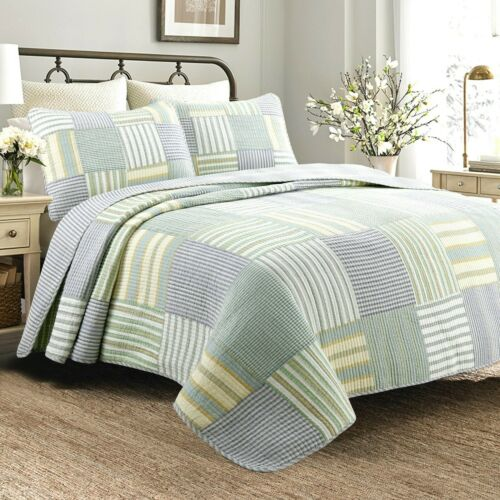 RELAX COMFORT BLUE SAGE GREEN COUNTRY COTTAGE YELLOW PLAID COMFORTER QUILT SET