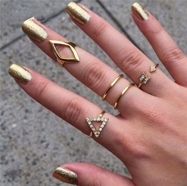 Girl Mid Midi Above Knuckle Ring Band Retro Gold Silver Tip Finger Stacking Gift