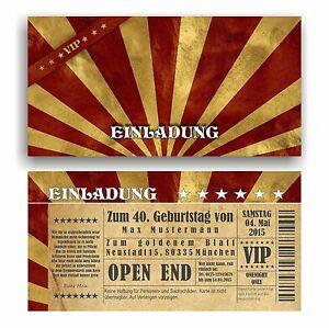 Das Bild Wird Geladen Einladung Geburtstag VIP Eintrittskarte Ticket Karte  Einladungskarten Vintage