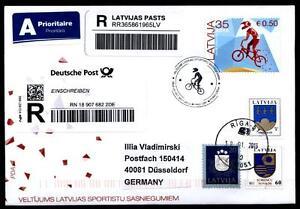 BMX - Radsport in Lettland. 1W. FDC-R-Brief nach BRD. Lettland 2013 - Düsseldorf, Deutschland - BMX - Radsport in Lettland. 1W. FDC-R-Brief nach BRD. Lettland 2013 - Düsseldorf, Deutschland