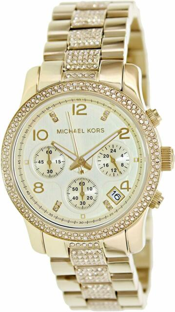 Michael Kors Women's MK5826 'Runway' Chronograph Crystal Gold Steel Watch