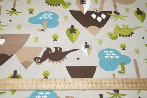 "Children Dinosaur Natural Linen Popart Cotton Rich Curtain Craft Fabric 54/"" Wide"