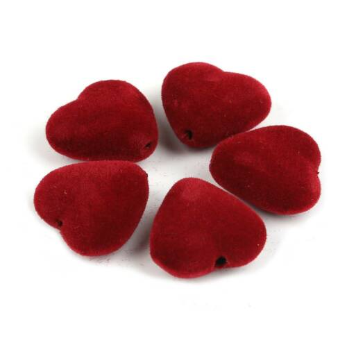 1pack 23x18mm Heart Shape Fabric Pompom Acrylic Beads For DIY Jewelry Earring