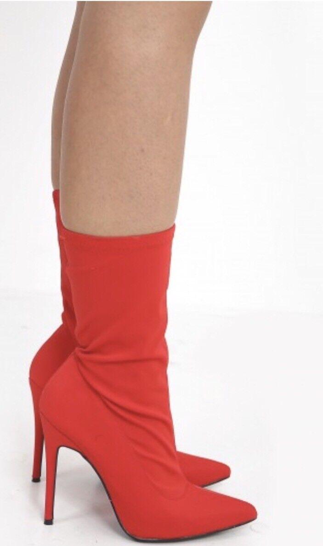 En el estilo Puntera en Punta botas taco stiletto stiletto stiletto Rojo UK 5  precios mas baratos