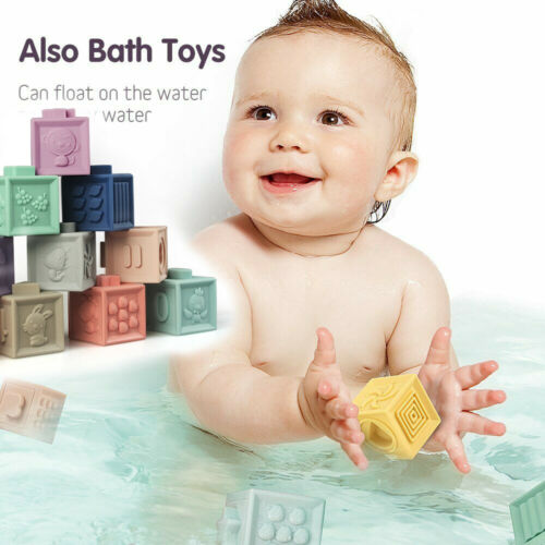 12pcs//set Baby Grasp Bath Squeeze Toy Teethers Building Blocks 3D Hand Touch  UK