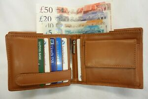 Soft-Leather-Gents-Large-Wallet-for-15-Cards-with-Large-Coin-Pocket-Tan-RFID