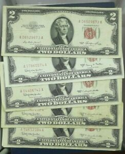 2-RED-SEAL-NOTES-NICELY-CIRCULATED-EACH-LOT-IS-FOR-5-NOTES