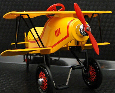 Air Plane Pedal Car Rare Yellow WW1 Vintage Airplane Aircraft Midget Metal Model