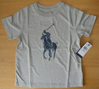 RALPH LAUREN Boys grey tshirt top crewneck Polo logo 2 to 5 years available