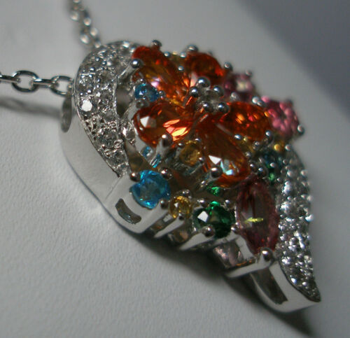 Brand New Sterling Silver Genuine Colored Topaz Floral Heart Pendant Necklace