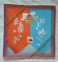 Vtg 60s Fruit Of The Loom Ladies Embroidered Blue & Orange Handkerchiefs