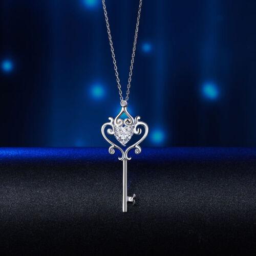 Amor Corazón Clave Plata Esterlina 925 1.5 quilates Colgante Collar Estilo Vintage
