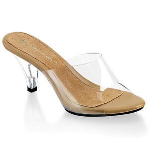 Fabulicious BELLE-301 Women's Shoes Clear-Tan Clear Slide Open Toe Kitten Heels