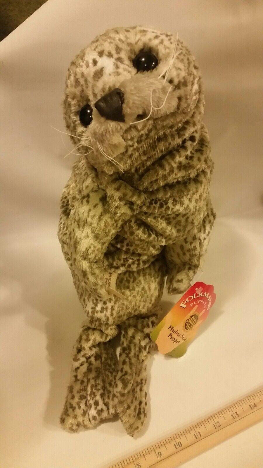 Folkmanis Puppet Harbor Seal Hand Finger Puppet Doll Entertainmänt leksak djur