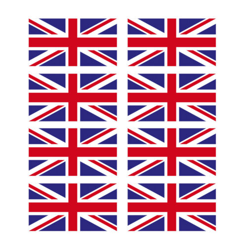8 x Glossy Vinyl Stickers Union Jack Small Flag 5.5cm 55mm Bike Helmet  #0064E