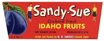 Sandy-sue Vintage Emmett Idaho Fruit Crate Label *an Original Plum Crate Label* Be Shrewd In Money Matters Collectibles