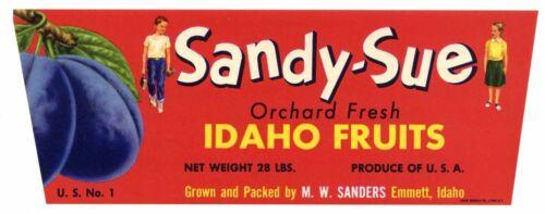 SANDY-SUE Vintage Emmett Idaho Fruit Crate Label *AN ORIGINAL PLUM CRATE LABEL*