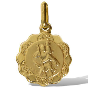 375-9CT-GOLD-ST-CHRISTOPHER-SHAPED-EDGE-ROUND-PENDANT-ST-CHRIS-MEDALLION-CHARM